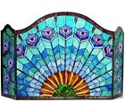 Stained Glass Chloe Lighting Peacock 3 Panel Folding Fireplace Screen 48 New
