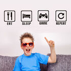 Eat Sleep Game Repeat Letters Game Controller Vinyl Wall Stickers for Boys Room