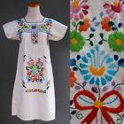 VTG Mexican Opulent Heavy Rainbow Floral Hand Embroidery Dress White Cotton XS