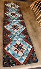 Handcrafted Quilted Table Runner SW Native Eagle Brown Turquoise 14 X 54