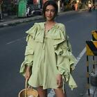 Chic Womens Loose Fit Dress Ruffle Mini Casual Cotton Pullover Long Sleeve A116
