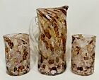 Italy Art Handcrafted Hand Blown Pinched Dimple 2 Glasses  8 Pitcher Set TAGS