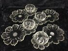 Vtg 16 Pc Clear Glass Flower Shaped Wedding/Party/ Snack Luncheon Dish Plate Set