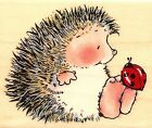 Hedgehog Ladybug Garden Gossip Wood Mounted Rubber Stamp PENNY BLACK 1448F New