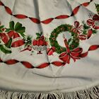 Vintage 50s Christmas Tablecloth Cotton 56 Round Fringe Holly Trees Ornaments