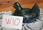 TEAL AQUA IRIDESCENT CARNIVAL GLASS CHICKEN HEN ON BASKET NEST CANDY DISH W10