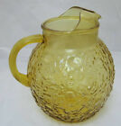 Anchor Hocking MILANO Honey Gold 96 oz Ball Pitcher w/ Ice Lip Bark Textured EC