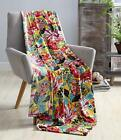 Hawaiian Bright Bold Velvet Fleece Throw Blanket Soft Plush Decorative Floral Te