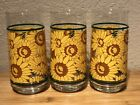 3 Sunflower Glass Tumblers Highball Glasses 16oz (A5)