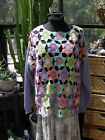 SUPER FUNKY ABSOLUTELY NO JEANS HANDMADE CROCHET GRANNY SQUARE SWEATER VINTAGE