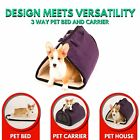 Pet Carrier and Bed Airline Approved Travel Tote Dog Cat Supplies Purple Soft