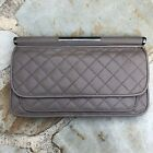 BCBG MAXAZRIA Leather small Bag Purse Handbag Clutch Wallet - Gray Soft
