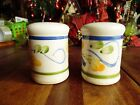2 PCS STONEWARE USED SALT  PEPPER SHAKERS W ONE PLUG HAS A STAIN