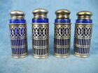 Four Webster Filigree Sterling Silver Cobalt Glass Salt  Pepper Shakers