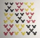 Walt Disney Mickey Mouse 102+ Paper Punchies Die Cuts Confetti Black Red yellow