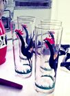 FEDERAL Glass Red Black ROOSTER MOJITO Glasses 12 oz Iced Tea 1950's 1960's