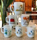 6 Anchor Hocking Fire King Snoopy Peanuts Mugs in Wire Carrier Holder