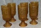 6 Brockway Glass American Concord Amber Footed Goblet  Glass Tumblers Glasses