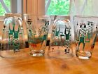 Libbey Set of 4 Monte Carlo 1950's Glasses  Atomic Aqua Gold MCM King