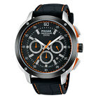 Pulsar PT3515 Men's On The Go Black Dial Chronograph Black Leather Band Watch