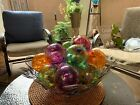 9 IRON ART GLASS DESIGN BALL ORB ART POLAND 4 And Decorative Wire Basket