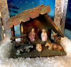 10W VINTAGE LIGHTED NATIVITY Holy Family WOODEN CRECHE MADE IN ITALY