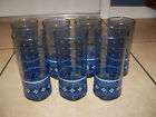 7 Vintage Smokey Blue Libbey Drinking Glasses X Pattern Dots