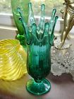 Vintage Swung Stretched Mid Century Modern Emerald Green Footed Spiked MCM Vase