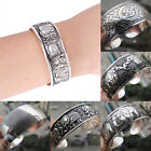 Tibetan Silver Plated Elephant Tibet Totem Bangle Jewelry Cuff Wide Bracelet LY