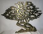 Vintage Asian Solid Brass Bonsai Tree of Life Wall Hanging Cypress 16x20 Art