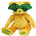 TY BEANIE BABIES - MASQUE THE MARDI GRAS BEAR BRAND NEW WITH SWING AND TUSH TAGS