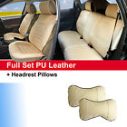 100 PU Leather Suede 5 Car Seat Front Rear 2 Pillows to Jeep 2088 Tan