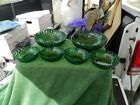 Vintage Forest Green Anchorglass Hobnail Swirl Bowl Set 5 Pieces Estate Find