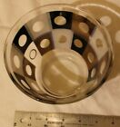 VINTAGE MID CENTURY 4 CUP GLASS BOWL 1960'S BLACK WHITE GOLD DOTS CIRCLES