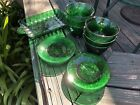 Lot Vintage Forest Green Sandwich Oatmeal Glass 6 Custard and 6 Liners