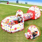 Play Tent With Tunnel Ball Pit For Kids Toddler Children Indoor Outdoor Yard Red