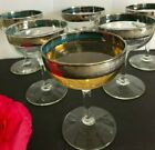 Vintage Art Deco Platinum trim Champagne Cocktail stemware glasses 6