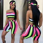 Women Two Piece Set Summer Colors Striped Crop Top Shorts Suit With Headscarf