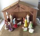 VINTAGE NATIVITY PLASTER WITH CARDBOARD CRCHE MID CENTURY SET OF 13