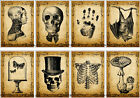 8 STEAMPUNK SKELETONS HATS BATS HANG GIFT TAGS FOR SCRAPBOOK PAGES 03