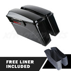 Saddlebags Trunk w Black Latch Keys For Harley Softail Deluxe Fatboy 1984 2013