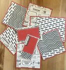 Black White  Red Mustache Tickets Premade Scrapbook Page Mat Set SEWN