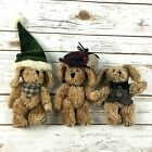 3 Boyds Bears Indy Boyds Mini Plush Puppy Dogs Holiday Dress Hunting 6