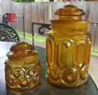 2  Vintage LE Smith Amber Glass Canisters Moon and Stars