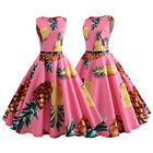 Womens Pineapple Print Vintage Dress Short Prom Ball Gown 50s Rockabilly Style