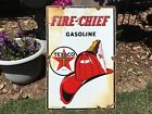 Vintage Texaco Fire Chief Porcelain Gas Pump Advertising Sign
