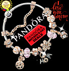 Authentic Pandora Bracelet Silver Rose Gold Mom with European CharmsNew
