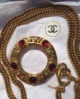 CHANEL Paris Gold Chain Necklace magnifying glass Red Stone France 1990s Box