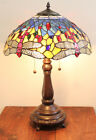 Stained Glass Tiffany Style Red Dragonfly Table Lamp 2 Lights 16 Shade
