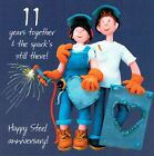 11th Wedding Anniversary Card From the One Lump or Two Collection Steel annivers